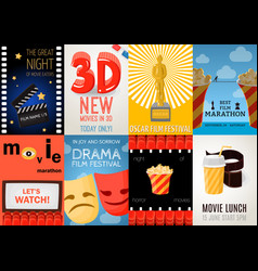 set of eight cinema posters vector image vector image