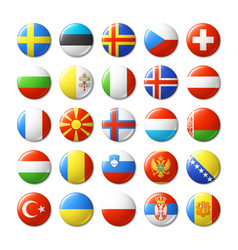 world flags round badges magnets europe vector image vector image