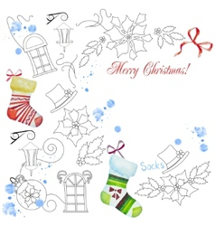 Background with christmas things-02 vector