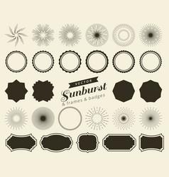 collection of hand drawn retro sunburst bursting vector image vector image
