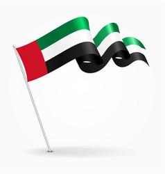 united arab emirates pin wavy flag vector image
