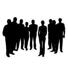young woman standing in front of people group vector image