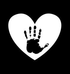 Black silhouette of human hand print inside of vector