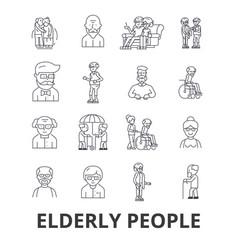 elderly people care elderly couple old people vector image vector image