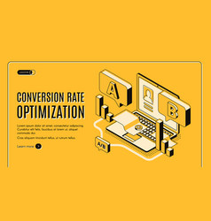 a b split-run testing isometric web banner vector image