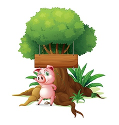 A pig standing in front of an empty wooden vector image