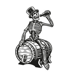 A skeleton is drinking a bottle beer vector