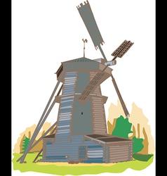 A wooden windmill vector