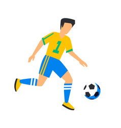 Abstract yellow football player with ball soccer vector