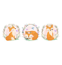 adorable little foxes vector image