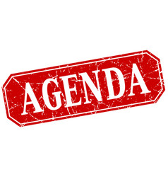 Agenda red square vintage grunge isolated sign vector