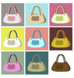 Assembly flat icons ladies handbag vector
