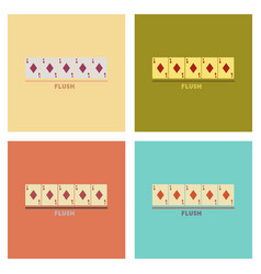 Assembly flat icons poker flush vector