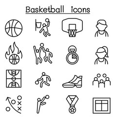 Basketball icon set in thin line style vector