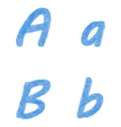 Blue sketch font set - letters A B vector