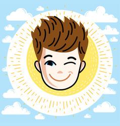 Boy face human head redhead kid winking vector