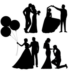 Bride and groom set collection vector