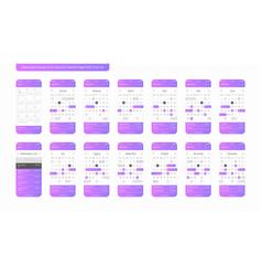Calendar mobile app ios ui ux concept kit vector