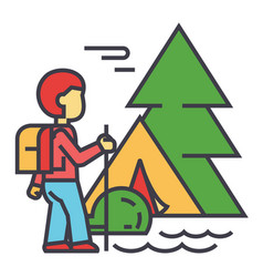 Camping traveller tourist hiking mountains vector