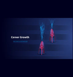 career growth low poly wireframe banner vector image