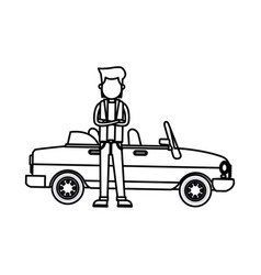 Character young man sport car standing outline vector