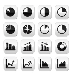Chart graph black buttons set for infographics vector
