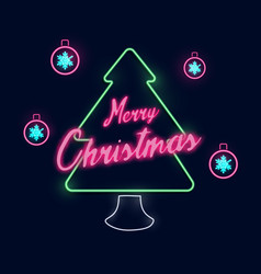 christmas and new year christmas tree neon light vector image