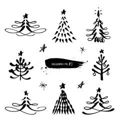 christmas tree calligraphic set vector image