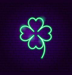 cloverleaf neon sign vector image