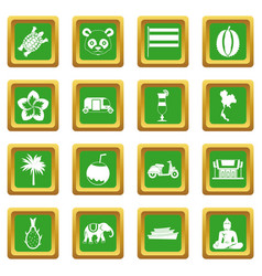 Costa rica icons set green vector