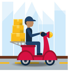 Courier delivery with box package in the motocycle vector