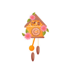 Cuckoo wall clock orange house is decorated with vector