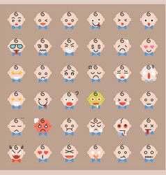 Cute baby emoticon set flat icon vector