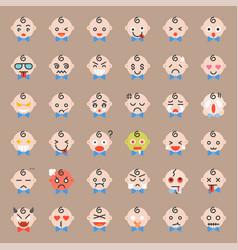 Cute baemoticon set flat icon vector