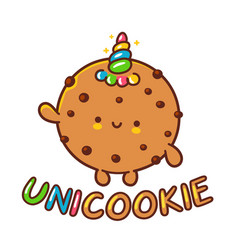 Cute funny cookie with unicorn horn character jump vector