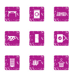 Design cottage icons set grunge style vector