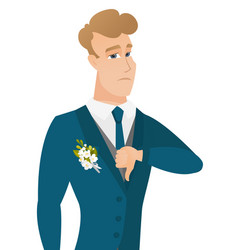disappointed caucasian groom with thumb down vector image