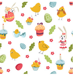 easter holiday signs cake and birds bunny flora vector image