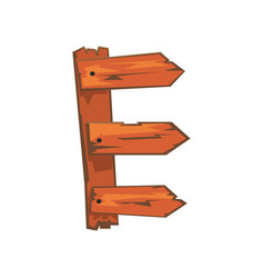 English letter e formed of downed wood planks with vector