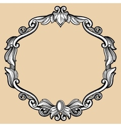 Engraving border frame with pattern in retro vector
