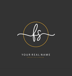 F s fs initial letter handwriting and signature vector