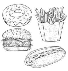 fast food vintage sketch vector image