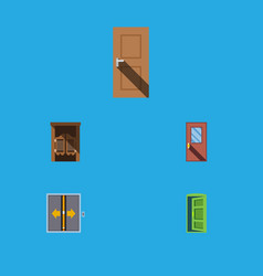 Flat icon approach set of door saloon frame and vector