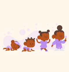 Flat stages of a baby girl vector