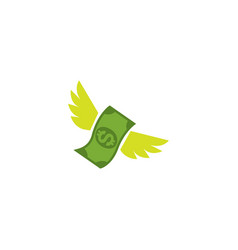 Flying stack dollar banknotes set money vector