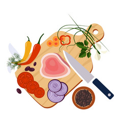 food preparation knife meat onions and spices vector image
