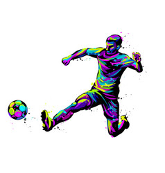 footballer with ball abstract graphic vector image