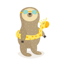 funny sloth going to swim summertime design vector image