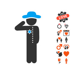 Gentleman officer icon with lovely bonus vector