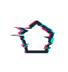 glitch distortion frame pentacon vector image